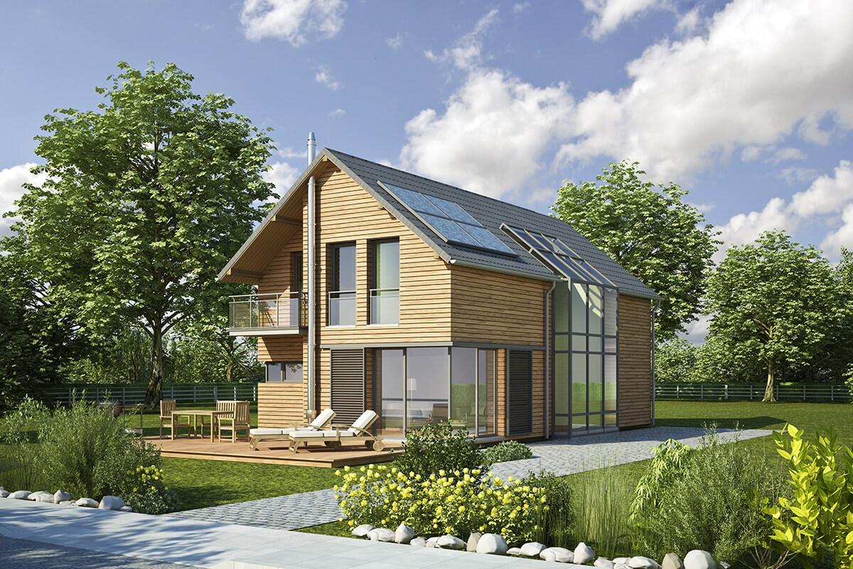 maison passive avec panneaux solaires