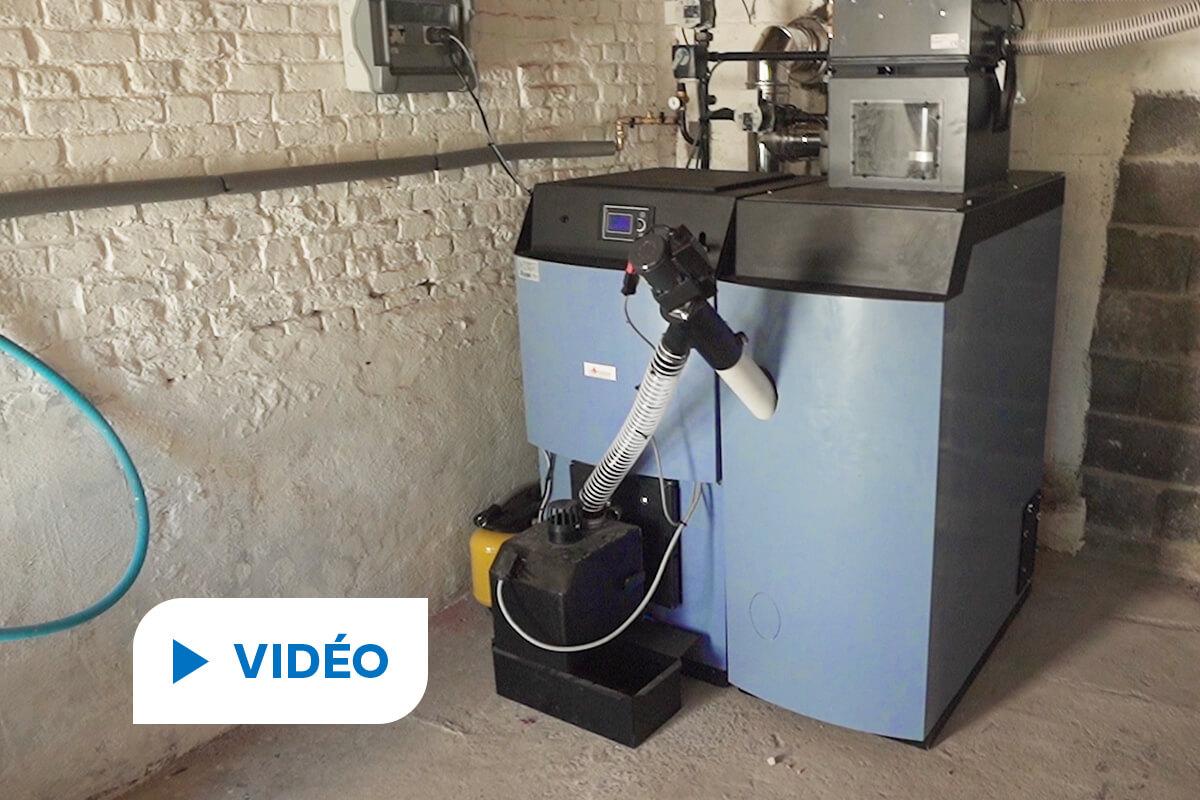 vidéo de l'installation d'une chaudière à granulés de bois en remplacement d'une chaudière fioul à Landas en 2021 par Hellio et Matlex